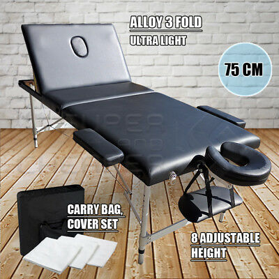 Portable Aluminium Massage Table 3 Fold Bed Therapy Waxing 75cm Black
