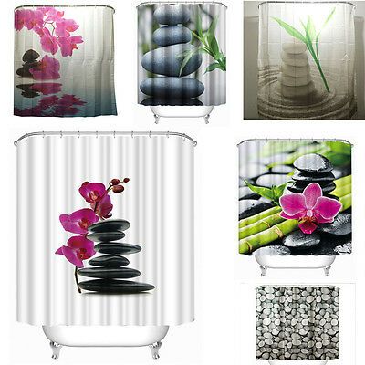 Oriental Zen Shower Curtain Orchid Stones Bamboo Home Bathroom Decor 12 Rings