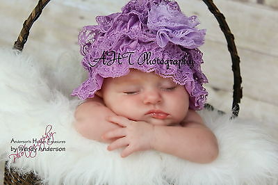 Infant Newborn Girls Baby Stretchy Lace Hat Bonnet Beanie Cap 0-12 Months Flower