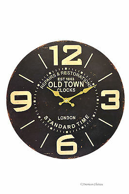 """13.25"""" Large Vintage-Style London Standard Time Old Town Wood Wall Clock"""