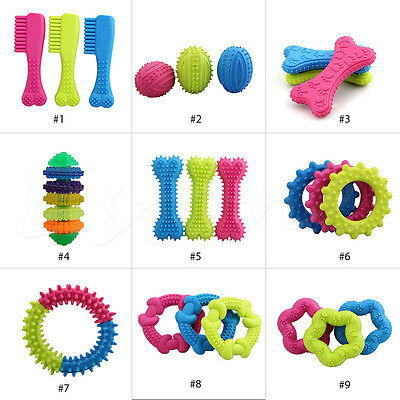 Pet Dog Puppy Cat Rubber Dental Teeth Chew Bone Play Training Fetch Fun Toys Hot