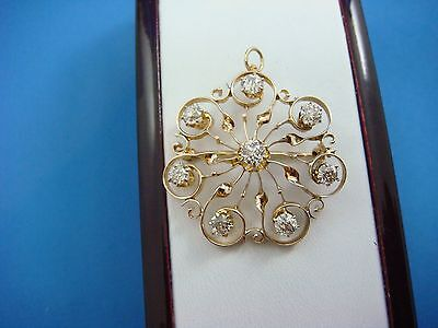 Beautiful 1.50 Ct Old Mine Diamonds 14K Rose Gold Antique Brooch-Pendant,5 Grams