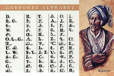 Cherokee Alphabet by Sequoyah Native American Indian, Reading & Writing Postcard