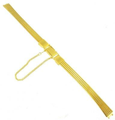 8mm Speidel Gold Tone Ladies Clasp Watch Band for Watches with Fixed Pins