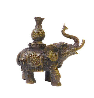 Chinese Brown Bronze Metal Trunk Up Elephant Figure cs1411