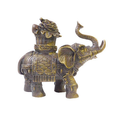 Chinese Brown Bronze Metal Trunk Up Elephant Figure cs1413