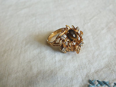 Beautiful Cocktail Ring Gold Tone Signed 14KT HGE Clear Rhinestones Size 6 1/2