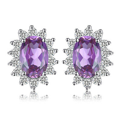 JewelryPalace Princess1ct Genuine Amethyst Earrings Stud 925 Sterling Silver