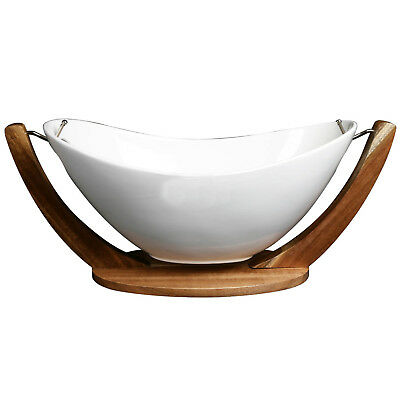 Swinging White Porcelain Fruit Bowl Vegetable Storage on Wood Wooden Stand New