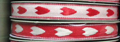 2 x Vintage style red & ivory heart finishing ribbon shabby chic 1cm width