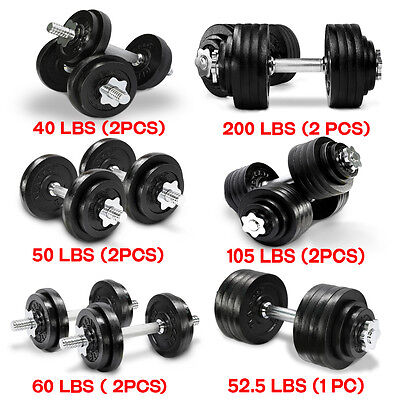 Yes4All Adjustable Dumbbells Weight Set Cap Fitness Gym Barbell 40 to 200 lbs