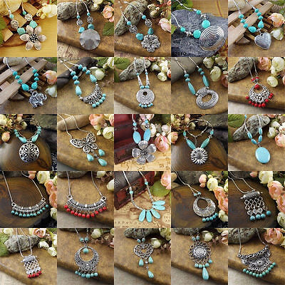 Women Vintage Jewelry Silver Plated Turquoise Beads Pendant Necklace Women Gift