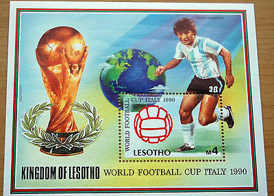 FIFA Football Italia 1990 World Cup Kingdom Of Lesotho Maradona Stamp Sheet MNH