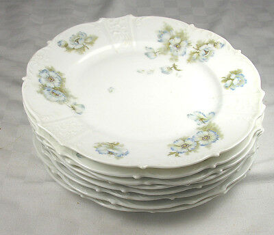 "Hermann Ohme Silesia Germany Eight 8.5/8"" Salad Plates - Embossed - Blue Flowers"