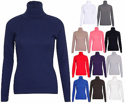 Womens New Polo Turtle Roll Neck Plain Long Sleeve Ladies Stretch T-Shirt Top