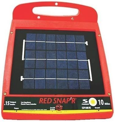 New Red Snap'r Esp10M-Rs Solar 10 Mile Electric Fence Controller Charger 6976161