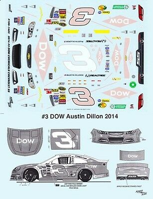 #3 Austin Dillon DOW Daytona Pole 2014 1/25th - 1/24th Scale Waterslide Decals