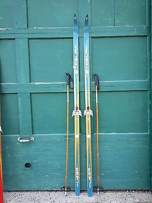 """A Very Interesting Vintage Wooden 79"""" Long Skis BLUE Finish Signed STRELA"""