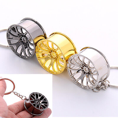 1 Pc Simple Alloy 3D Arificial Wheel Key Chain Key Ring Bag Accessories Gift