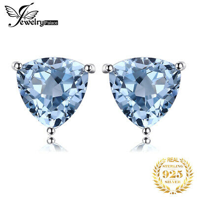 JewelryPalace 1.8ct Natural Sky Blue Topaz Earrings Stud 925 Sterling Silver
