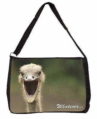 Ostritch with 'Whatever' Large Black Laptop Shoulder Bag Christmas Gif, AB-OS2SB