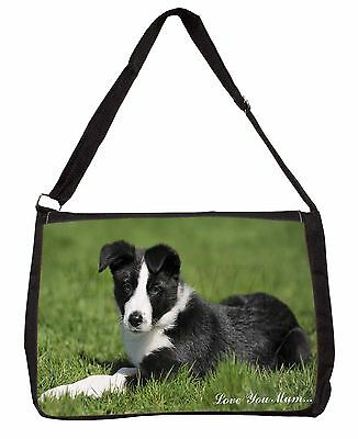 Border Collie Dog 'Love You Mum' Large Black Laptop Shoulder Bag S, AD-BC14lymSB