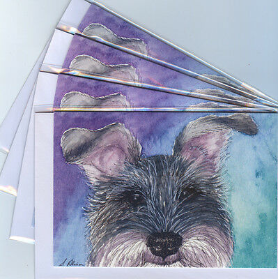 4 x silver Schnauzer dog greeting cards all ears from a Susan Alison watercolor