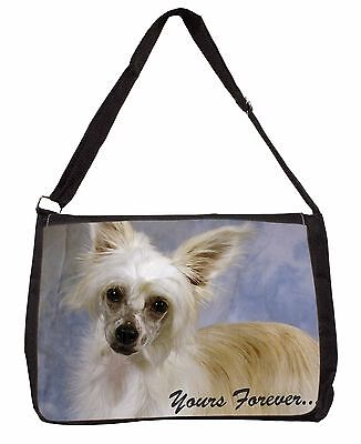 Chinese Crested Powder Puff Dog Large Black Laptop Shoulder Bag Scho, AD-CHC3ySB