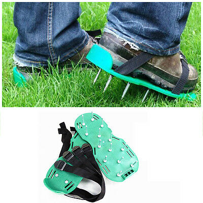 Lawn Care Garden Grass Sod Aerator Spike Spiked Strap Shoes Garden Tools 30X13CM