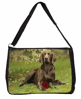 German Shorthaired Pointer with Red Rose Large Black Laptop Shoulder, AD-GSP1RSB