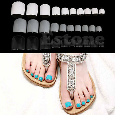 500PCs French False Fake Feet Toenail Toe Nail Art Acrylic UV Gel Tips DIY