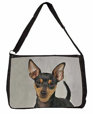 Miniature Pointer Dog Large Black Laptop Shoulder Bag School/College, AD-MP1SB