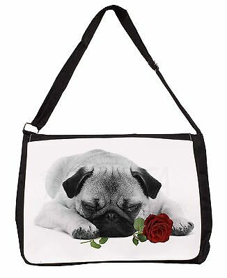Pug (B+W Photo) with Red Rose Large Black Laptop Shoulder Bag School, AD-P92R2SB