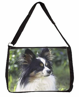 Papillon Dog Large Black Laptop Shoulder Bag School/College, AD-PA62SB