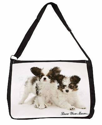 Papillon Dogs 'Love You Mum' Large Black Laptop Shoulder Bag Schoo, AD-PA65lymSB