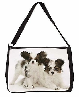 Papillon Dogs Large Black Laptop Shoulder Bag School/College, AD-PA65SB