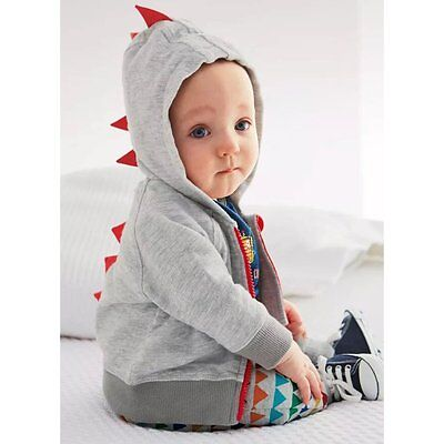 Toddler Kids Baby Boys Dinosaur Hoodie Hooded Sweatshirt Jumper Coat Jacket Tops