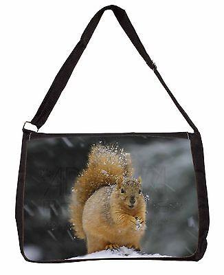 Red Squirrel in Snow Large Black Laptop Shoulder Bag Christmas Gift Idea, AS-2SB