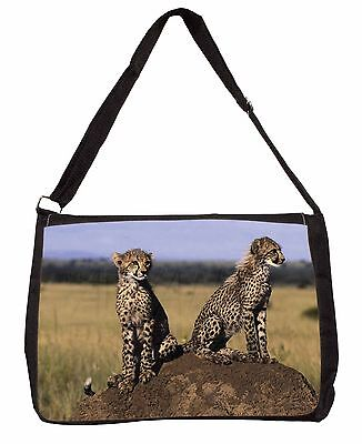 Cheetahs on Watch Large Black Laptop Shoulder Bag Christmas Gift Idea, AT-25SB
