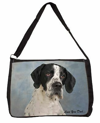English Pointer 'Love You Dad' Large Black Laptop Shoulder Bag School/, DAD-26SB
