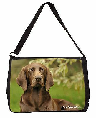 German Pointer Dog 'Love You Dad' Large Black Laptop Shoulder Bag Scho, DAD-47SB