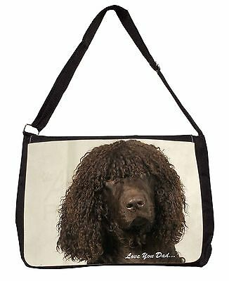 Irish Water Spaniel 'Love You Dad' Large Black Laptop Shoulder Bag Chr, DAD-59SB