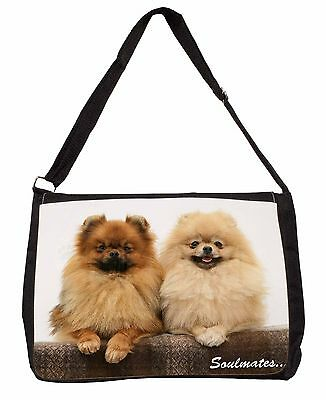 Pomeranian Dogs 'Soulmates' Sentiment Large Black Laptop Shoulder Bag, SOUL-45SB