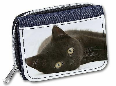 Stunning Black Cat Girls/Ladies Denim Purse Wallet Christmas Gift Idea, AC-185JW