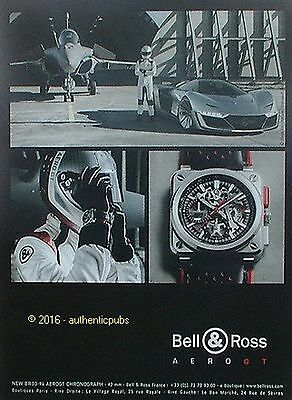 Publicite Bell & Ross Montre Chronographe Aerogt Avion De 2016 French Ad Pub