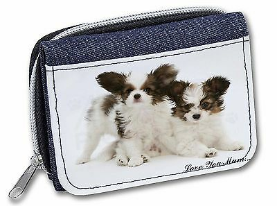 Papillon Dogs 'Love You Mum' Girls/Ladies Denim Purse Wallet Chris, AD-PA65lymJW