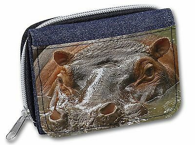 Hippopotamus, Hippo Girls/Ladies Denim Purse Wallet Christmas Gift Idea, AHI-1JW