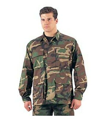Ultra Force Woodland Camo BDU Shirt -Poly/Cotton Twill - Reinforced Elbows