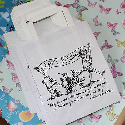 Winnie the Pooh  Party Bags White with Handles x 10 Happy Birthday / Gift Bags