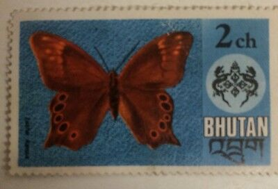 Blue Stamp With Rex Butterfly - BHUTAN